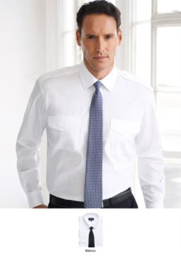 Elegant men shirt in polyester and cotton, with easy iron fabric.