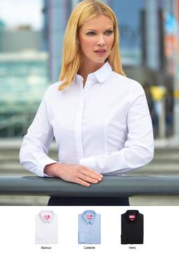 Elegant women's shirt, polyester fabric, cotton and elastane, semi-fit model. Ideal for receptionists, hostesses, hoteliers