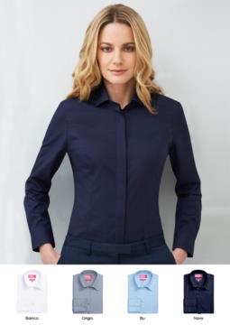 Women's shirt in polyester and cotton, available in white, light blue, navy, grey. For receptionists, hostesses, hoteliers.