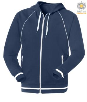 long zip sweatshirt with blue hood in polyester and cotton
