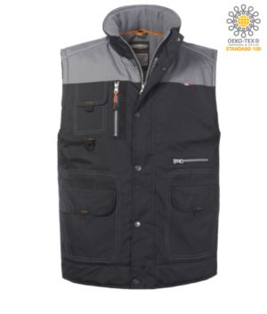 padded multi pocket vest, padded lining, 100% polyester fabric, black/grey