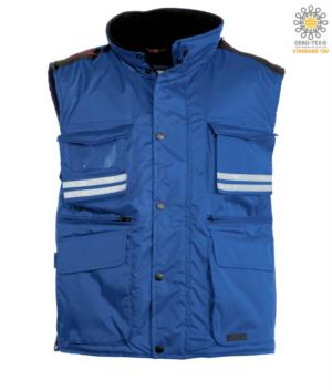 Royal blue multi-pocket work vest with reflective stripes, 100% polyester fabric