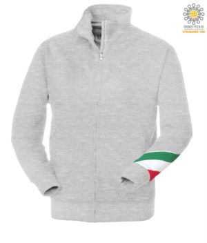 Long profile zip sweatshirt tricolor, ribbed neck, torch tricolor on the left arm, your open pockets with thread stitching ribattute, made in Italy, color gray melange