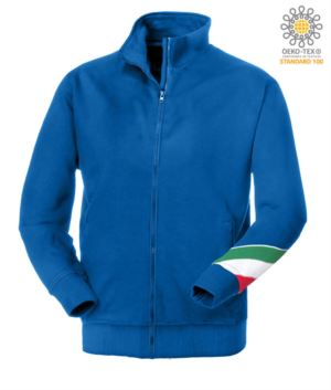 Long profile zip sweatshirt tricolor, ribbed neck, torch tricolor on the left arm, your open pockets with thread stitching ribattute, made in Italy, color royal blue