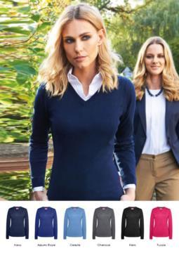Maglione donna scollo a V, maniche lunghe, costine sul collo e polsini, tessuto cotone e acrilico