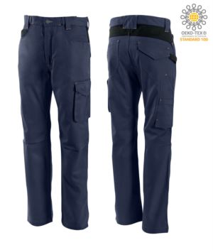 Two tone, multi-pocket cotton trousers, colour blue/black