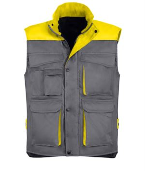 Polyester and cotton multi-pocket work vest, polyester padding. grey / yellow colour