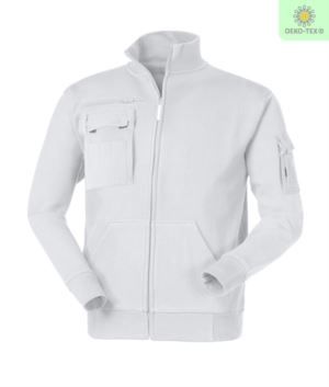 men White multi-pocket long zip work sweatshirt