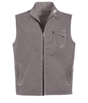 grey summer vest with 5 pockets and badge holder