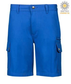 Multi pocket ripstop Bermuda shorts, two side pockets closed with snap buttons and one zipped pocket. Colour royal blue