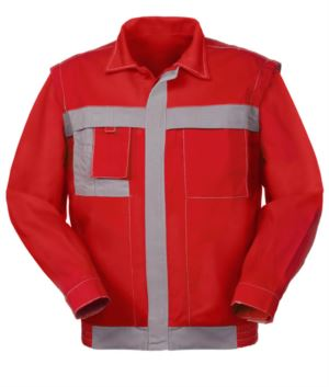 Two tone multi pocket jacket with cell phone holder in cotton canvas. Colour Red and grey