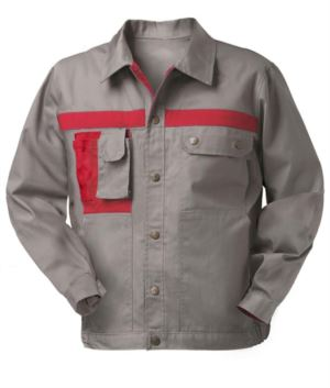 Two tone multi pocket work jacket with mobile phone pocket. Colour Grey/Red