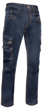 Work trousers in multi-pocket stretch jeans, color blue