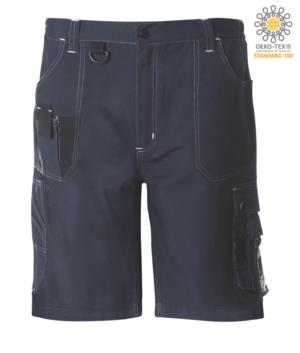 Multi pocket Bermuda shorts with contrasting details and stitching, keychain hook; colour blue/black