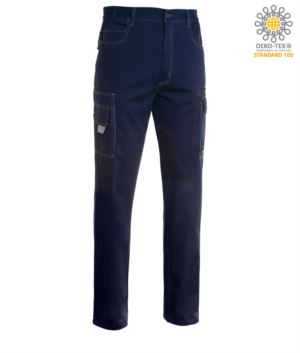 Work trousers with multiple pockets, multiseason, two-tone. Colour blue Navy/Royal blue