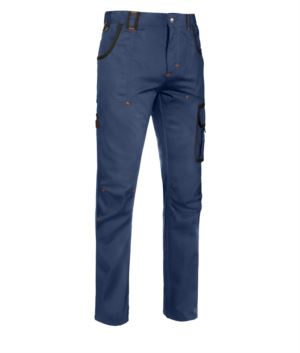 Multi pocket work trousers with contrasting coloured details, colour blue