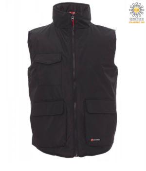 multi pocket padded work vest 100% polyester black color