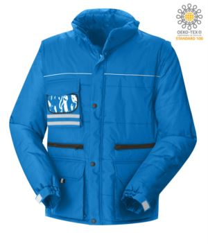 Multi pocket jacket with detachable waterproof sleeves, removable hood with reflective profiles on the pocket and badge holder, color royal blue