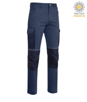 Multi pocket trousers in cordura with reinforced inserts in cordura, colour blue
