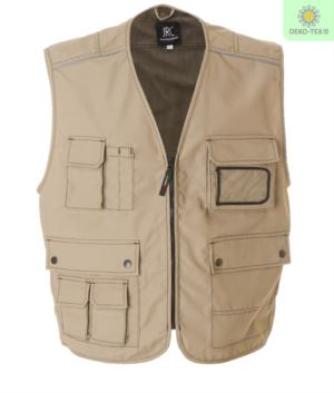 summer multi pocket vest in beige with polyester and cotton badge holder