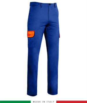 Two-tone multi-pocket trousers. Made in Italy. Possibility of custom production. Color: Royal Blue / Orange