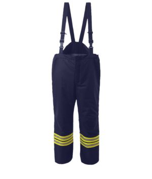 Fire pants, brettelle not detachable, elasticated waist, quick release closure, navy blue color. EN 469 certified