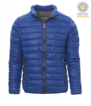 Padded nylon jacket with feather effect padding, interior and contrasting finishes. Colour: Royal Blue and Grey