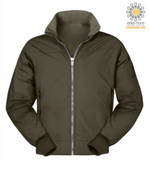 Padded nylon jacket, two external pockets, zip closure, color green