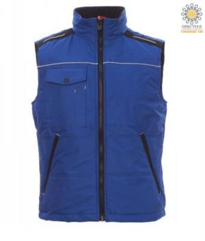 royal blue fleece padded collar multi pocket work vest