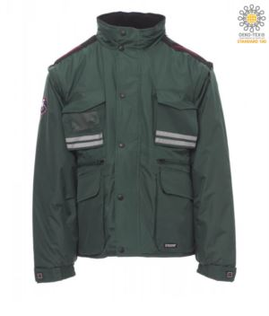 Padded ripstop jacket, multi-pocket with detachable sleeves and hood. One badge pocket, reflective bands on pockets and back. Green colour