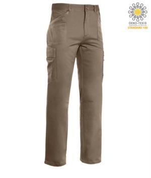Pantaloni da lavoro multitasche, cuciture a contrasto 100% Cotone, colore beige