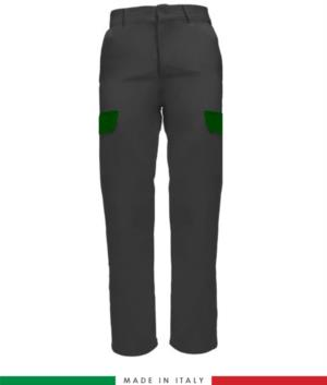 Pantalone multitasche da lavoro bicolore, profili a contrasto, due tasche anteriori, una tasca posteriore, made in italy, colore grigio verde brillante