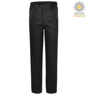 Pantaloni elasticizzati da lavoro vestibilità classica, multistagione, colore nero