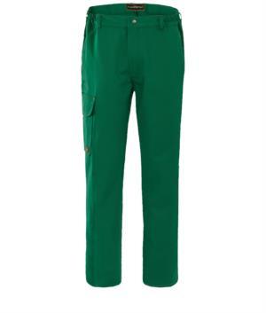 Pantalone da lavoro ignifugo, chiusura con bottoni, due tasche anteriori e una tasca posteriore, colore verde. Certificato EN 11611, EN 11612: 2009