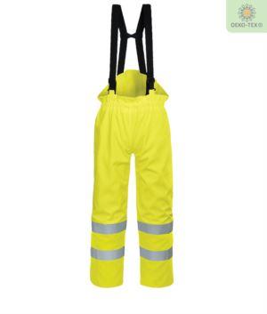 Pantalone foderato antistatico, ignifugo alta visibilità, zip alle caviglie, retro vita elasticizzato, fodera in cotone, colore giallo. Certificato CE, EN 343:2008, EN 1149-5, UNI EN 20471:2013, EN 13034, UNI EN ISO 14116:2008, pantalone ignifugo