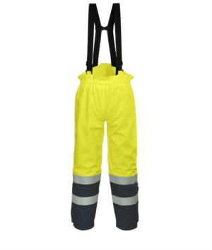 Pantalone trivalente ad alta visibilità, bretelle elasticizzate regolabili con fibbia, bicolore, doppia banda su fondo gamba, certificata EN 343:2008, UNI EN 20741:2013, EN 11611, EN 1149-5, EN 13034, CEI EN 61482-1-2:2008, EN 11612:2009, colore giallo/blu