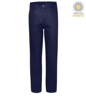 Pantalone ignifugo, chiusura con zip, due tasche anteriori, tasca porta metro, colore blu navy. Certificato CE, NFPA 2112, EN 11611, EN 11612: 2009, ASTM F1959-F1959M-12