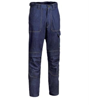 Pantalone ignifugo, due tasche anteriori e posteriori, tasca portametro, colore blu denim. Certificato UNI EN ISO 340: 2004, EN 11611, EN 11612: 2009