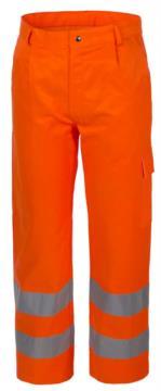 Pantalone invernale alta visibilità, multitasche, doppia banda rifrangente al fondo gamba, certificata EN 20472, colore arancione