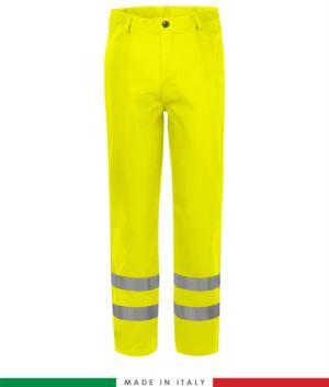 tasche a filetto e due tasche posteriori, doppia banda su fondo gamba, Made in Italy, certificato EN 20471, EN 11611, EN 1149-5, EN 13034, CEI EN 61482-1-2:2008, EN 11612:2009, colore gialloPantalone multinorma,  pantalone ignifugo, pantalone antistatico, pantalone antiacido, pantalone saldatura, pantalone arco elettrico, pantalone alta visibilità