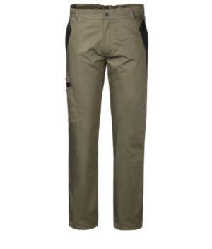 Pantaloni multitasche da lavoro bicolore con doppia tasca sulla gamba destra, colore verde/nero