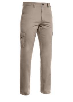 Pantalone multitasche leggero, fodera con tessuto rigato. Colore tortora