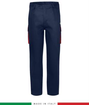 Pantalone pentavalente  bicolore, multitasche, profilo colorato sulle tasche, Made in Italy, certificata EN 11611, EN 1149-5, EN 13034, CEI EN 61482-1-2:2008, EN 11612:2009, colore blu navy e rosso,  pantalone ignifugo, pantalone antistatico, pantalone antiacido, pantalone saldatura, pantalone arco elettrico