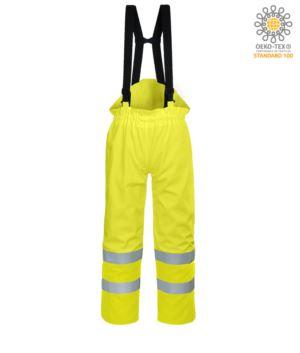 Pantalone antistatico, ignifugo ad alta visibilità, strap regolabili con fibbia regolabile, doppia banda su fondo gamba, certificata EN 343:2008, UNI EN 20741:2013, EN 1149-5, EN 13034, UNI EN ISO 14116:2008, colore giallo, pantalone ignifugo