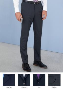 Pantalone elegante uomo modello slim fit, due tasche a filetto, tessuto in lana e poliestere con tessuto antipiega. Contattaci per un preventivo gratuito.