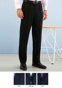 Pantalone elegante uomo modello dal taglio classico, due tasche a filetto, in tessuto Poliestere e lana, tessuto antipiega. Contattaci per un preventivo gratuito.