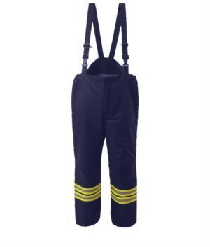 Pantaloni antincendio, brettelle non staccabili, vita elasticizzata, chiusura a rilascio rapido, colore blu navy. Certificato EN 469