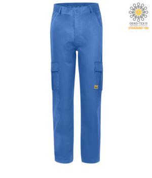 Pantalone antistatico, due tasconi laterali con pattella, certificata EN 1149-5, EN 61340-5-1:2007, colore azzurro medicale