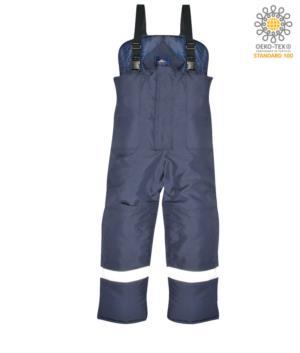 Pantaloni celle frigo, Bretelle elastiche, nastro riflettente attorno alle gambe, rinforzo sulle ginocchia, tasche oversize, colore blu. Certificato CE, EN 342:2004