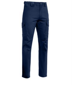 Pantaloni da lavoro multitasche elasticizzato colore blu